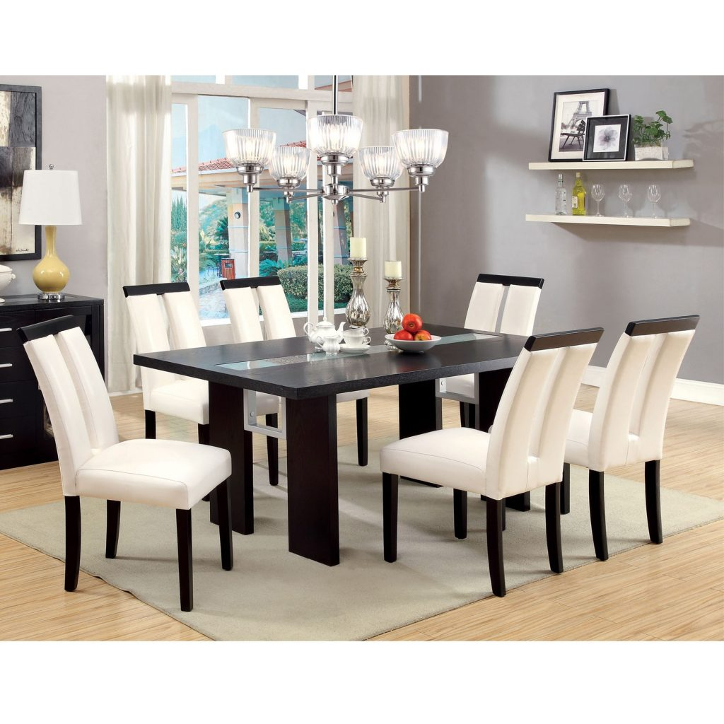 Shop Furniture Of America Lumina 7 Piece Light Up Two Tone Dining