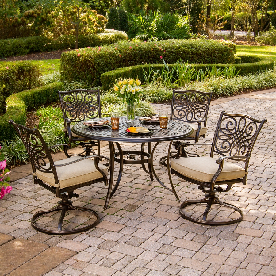 Shop Hanover Outdoor Furniture Traditions 5 Piece Bronze Metal Frame