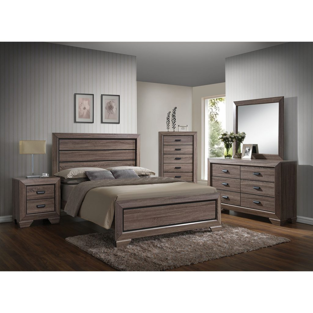 Shop Lyndon Weathered Grey 4 Piece Bedroom Set Free Shipping On