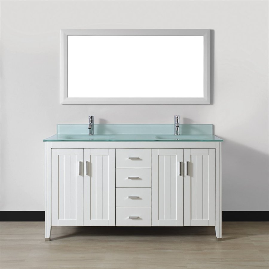 Shop Spa Bathe Jaq White Double Sink Vanity With Mint Green Glass