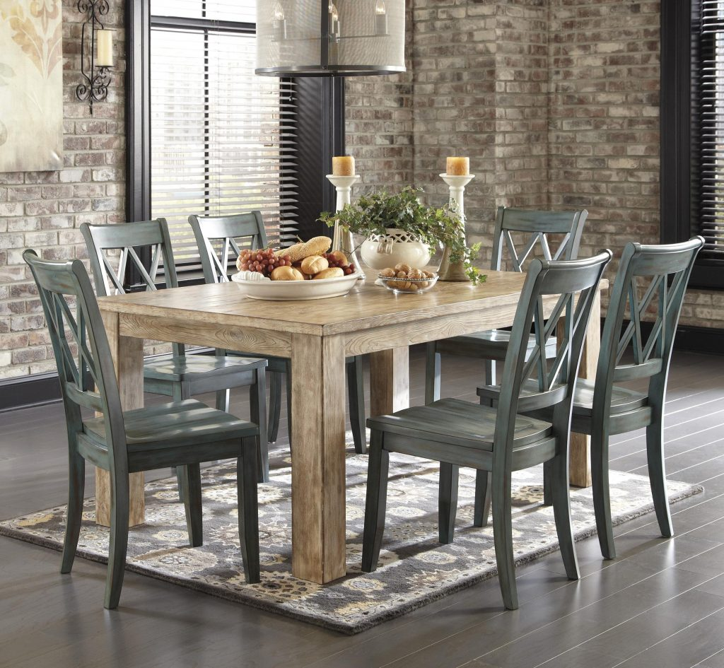 Signature Design Ashley Mestler 7 Piece Table Set With Antique
