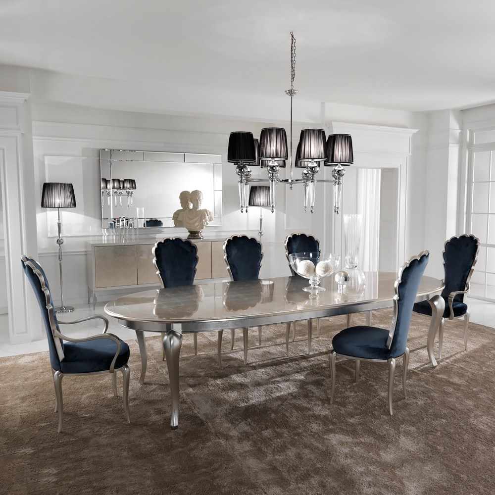 Silver Leaf Dining Set Including Royal Blue Velvet Chairs Plus