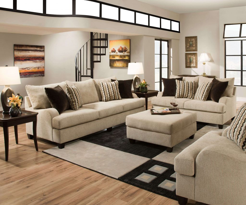 Simmons Trinidad Taupe Living Room Set Fabric Living Room Sets