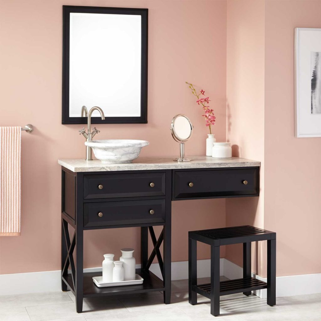 Single Bathroom Vanity With Makeup Area Vanity Ideas