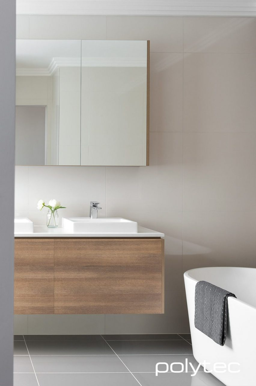 Sleek Looking Modern Bathroom Vanity In Polytec Ravine Sepia Oak