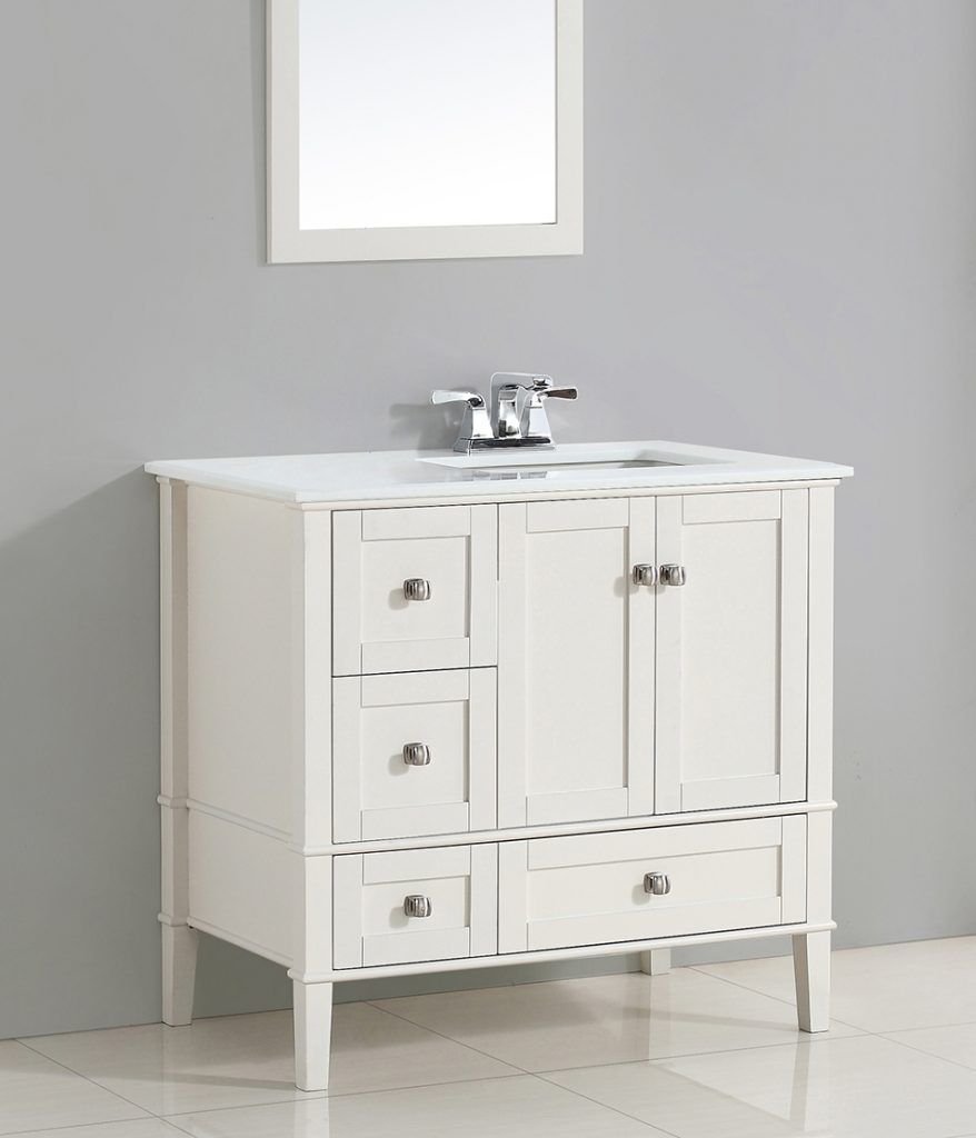 Spotlight Bathroom Vanities With Drawers On Left Side Full White