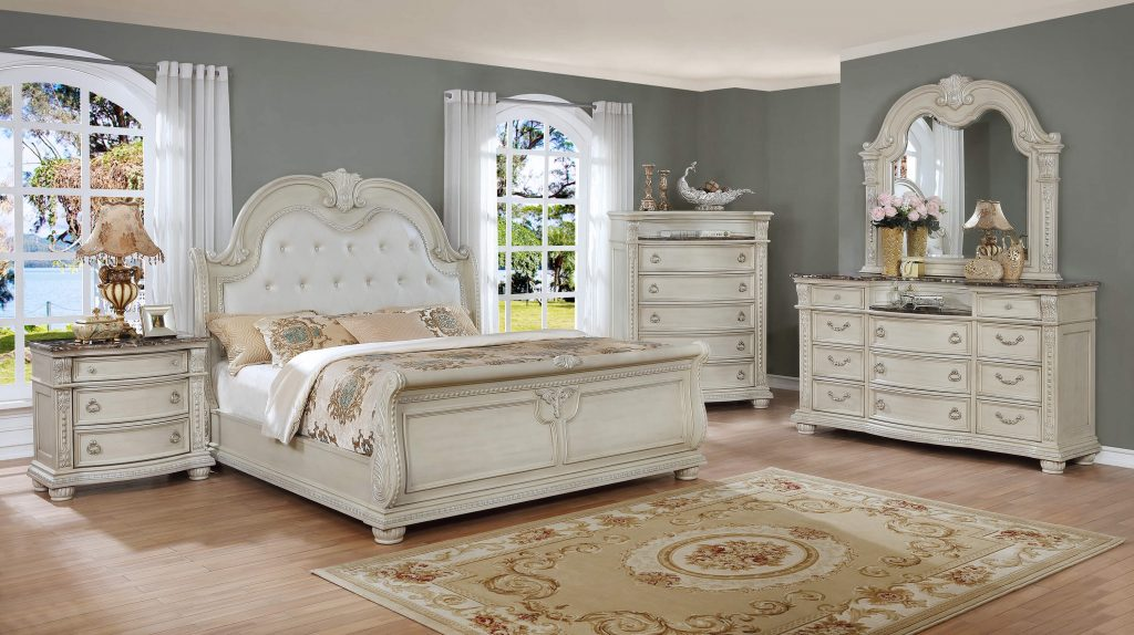 Stanley Antique White Marble Bedroom Set Bedroom Furniture Sets