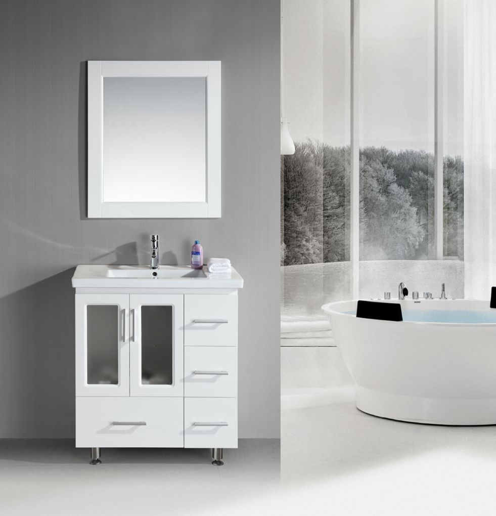 Stanton 32 Inch Contemporary White Bathroom Vanity Set With Regard