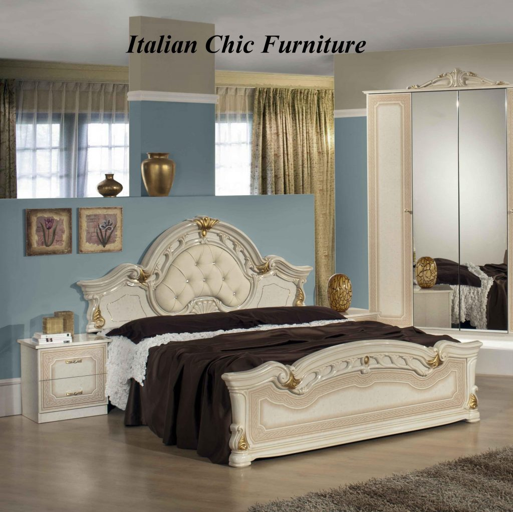 Stella Bedroom Set With 4 Door Wardrobe Beige Gold