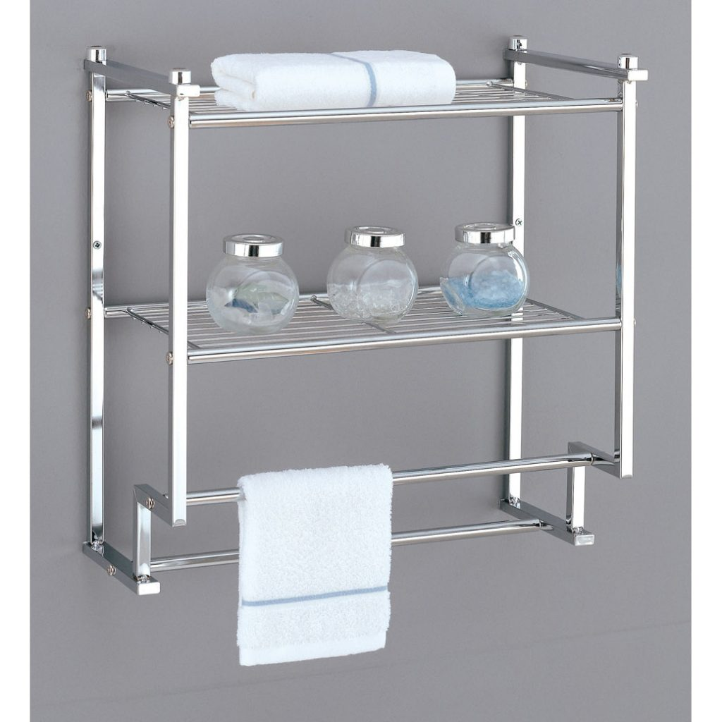 Sweet Design Bathroom Wall Rack Metro 2 Tier With Towel Bars In