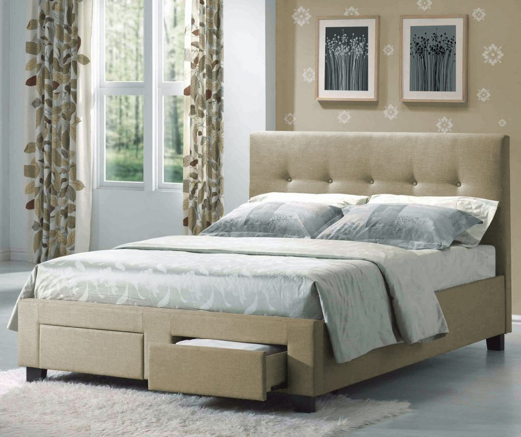 Sydney Fabric Upholstered Storage Bed In Cafe Humble Abode