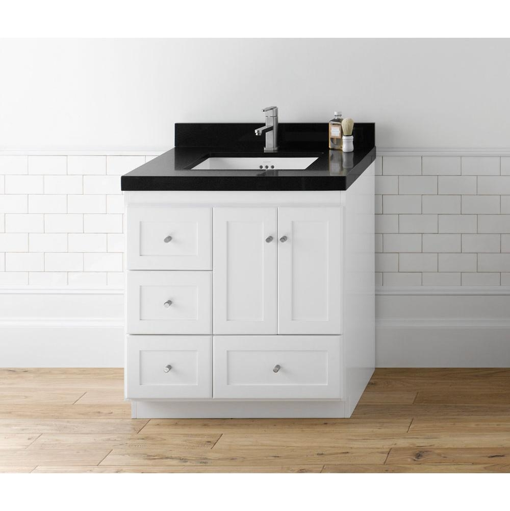 Terrific Bathroom Vanities With Drawers On Left Side Ronbow White