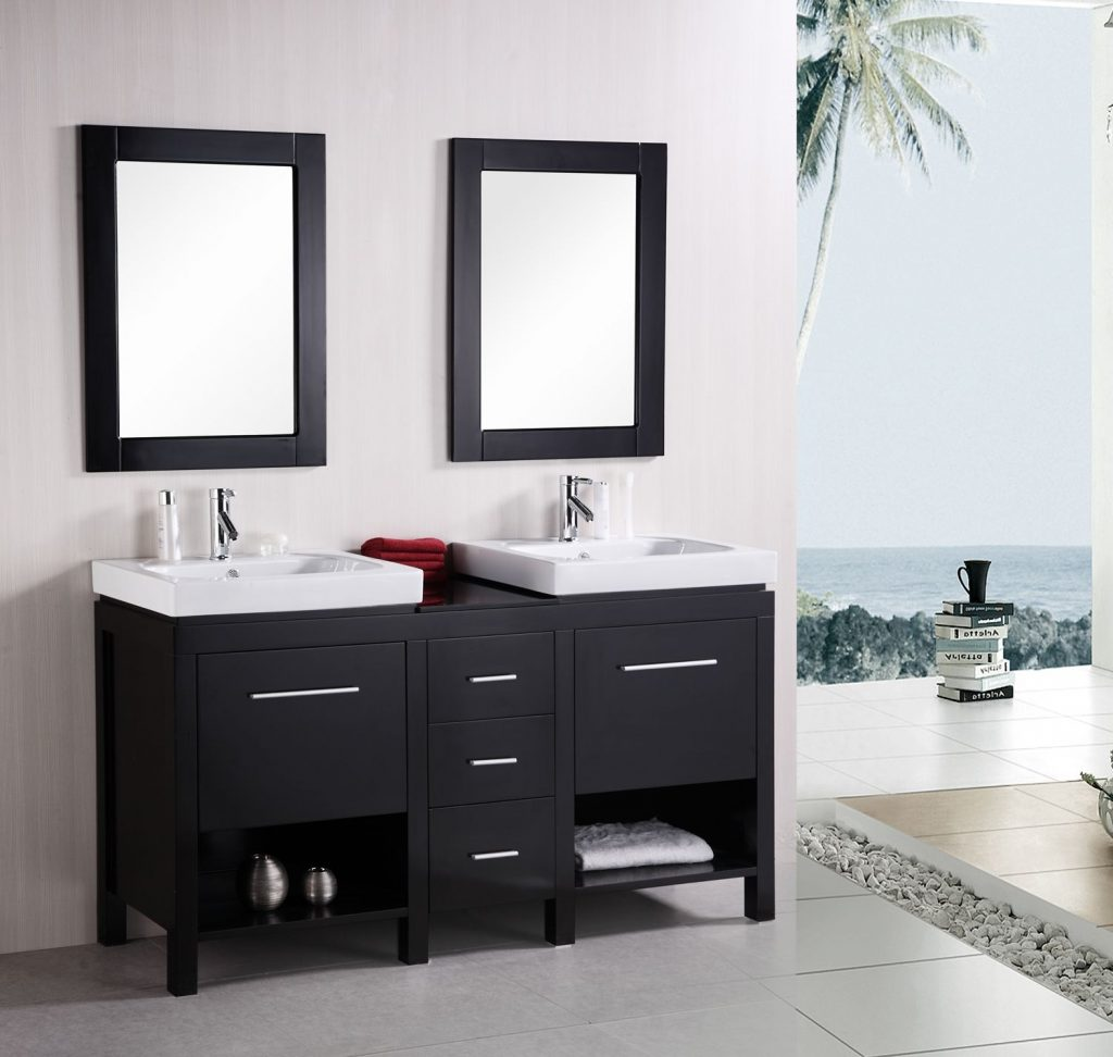 The Adorna 60 Inch Transitional Double Vessel Sink Vanity Espresso