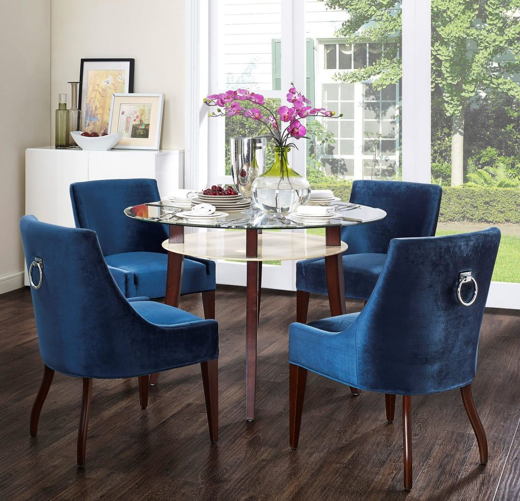 Tov Furniture Modern Dover Blue Velvet Dining Chair Tov D35