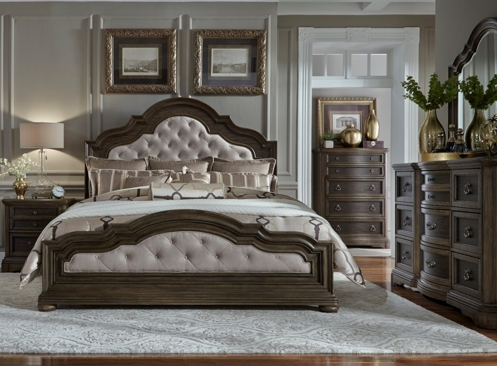 Valley Springs Brown And Beige Upholstered Bedroom Set From Liberty
