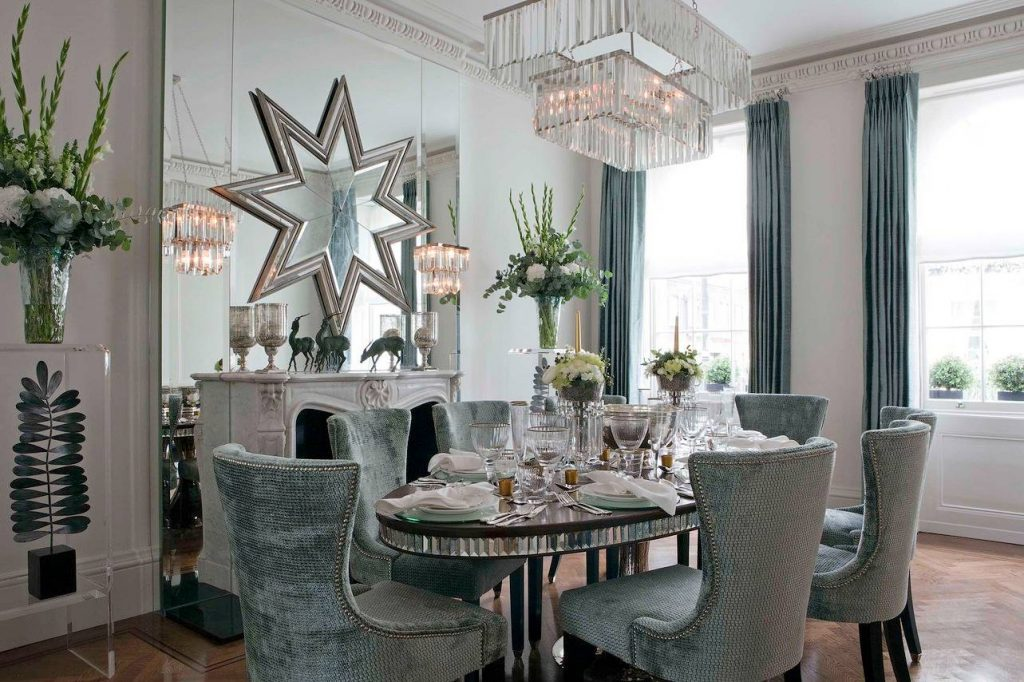 Velvet Dining Room Chairs Holiday Style Cool Blue Decor Mirrored