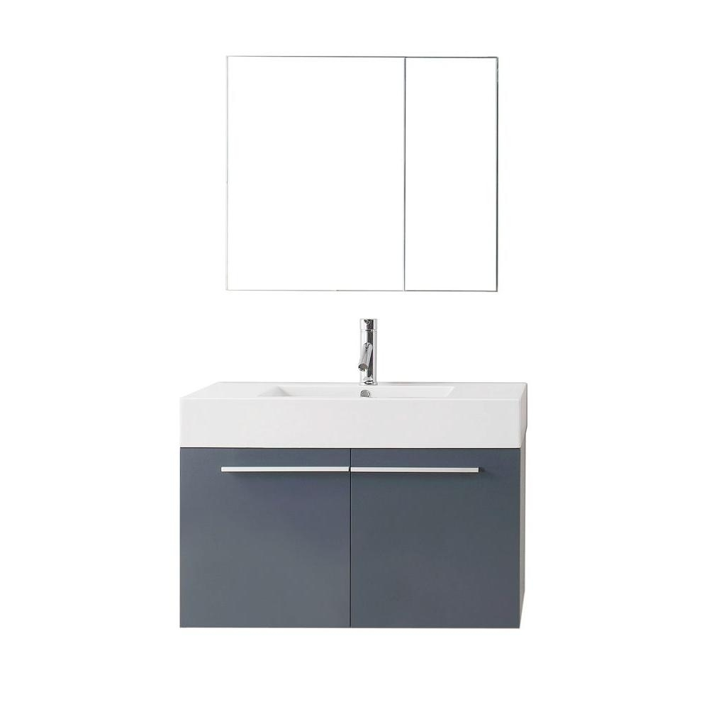 Virtu Usa Midori 3543 In W Vanity In Grey With Poly Marble Vanity Top In White With White Basin And Mirror