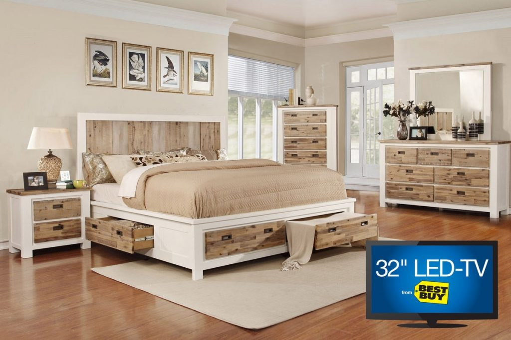 Western Queen Storage Bedroom Set With 32 Tv At Gardner White