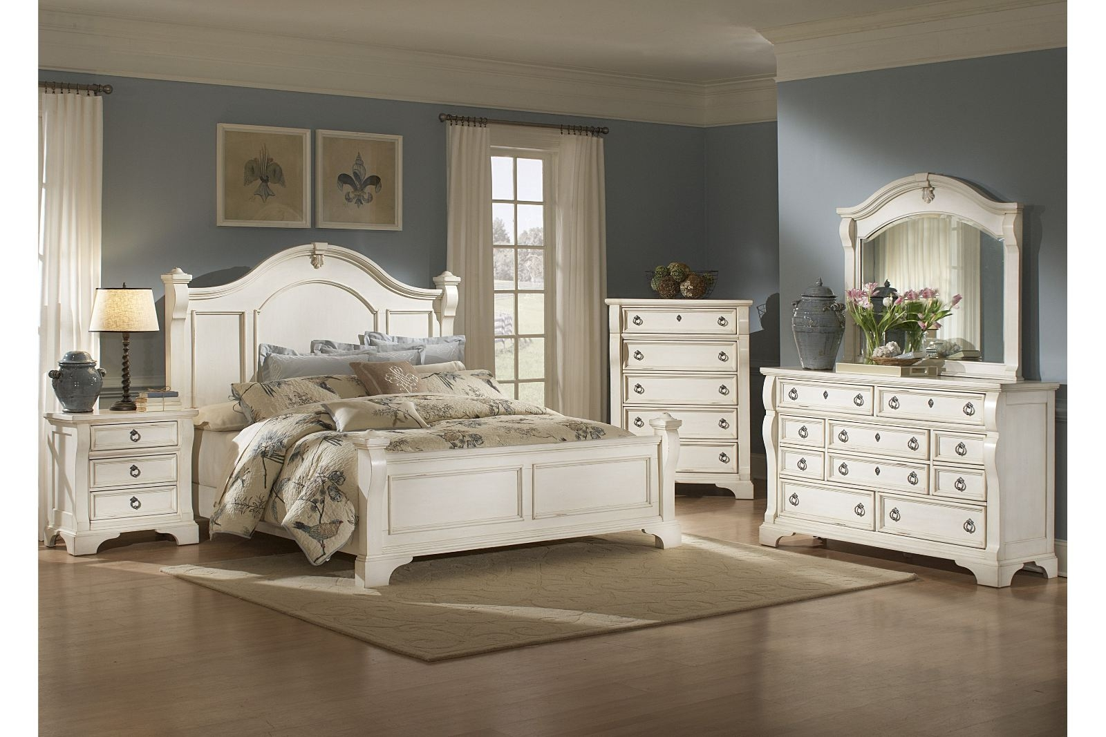 White Antique White King Bedroom Set At Bedroom Furniture Discounts Layjao