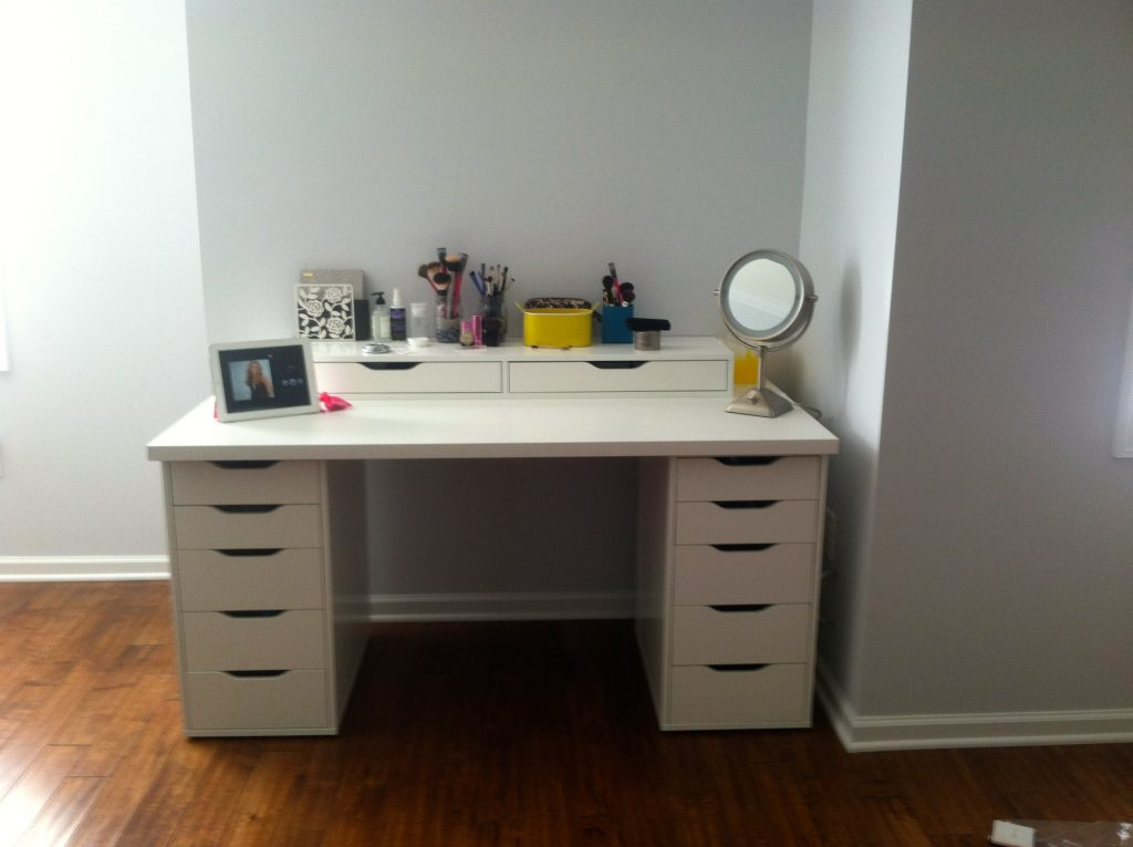 White Desk With Ikea Alex Drawers Bedroom Luxurious White Makeup
