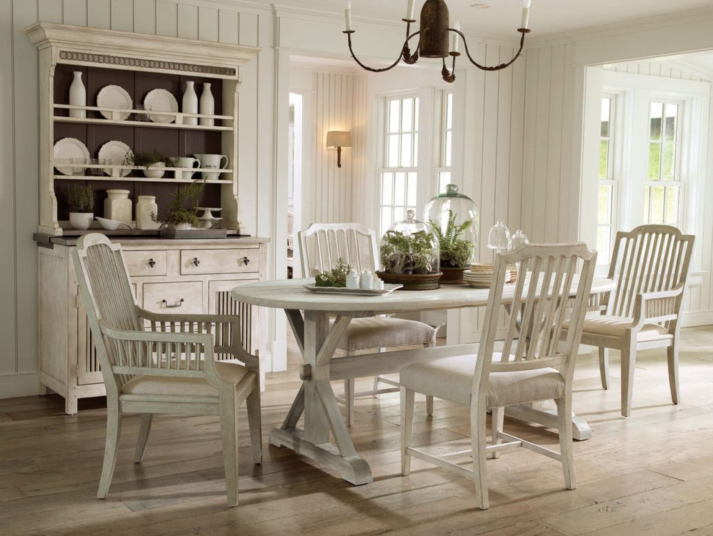 White Wood Dining Room Table And Country Style Dining Room Chairs