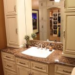 Wonderful Single Sink Bathroom Vanity Set With Linen Tower Accessory