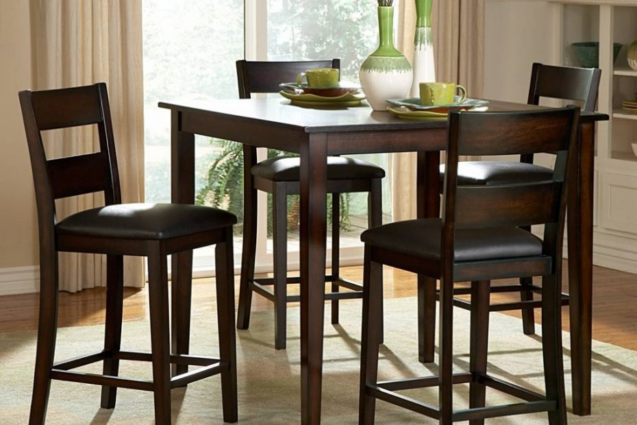 Wondrous Tall Dining Room Sets Solid Wood Table And Chairs Furniture