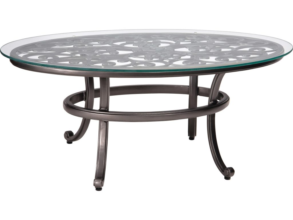 Woodard New Orleans Cast Aluminum 52 X 28 Round Glass Top Coffee