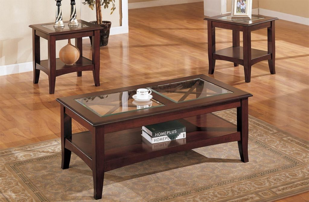 3 Piece Glass Dark Brown Finish Living Room Table Set Furniture