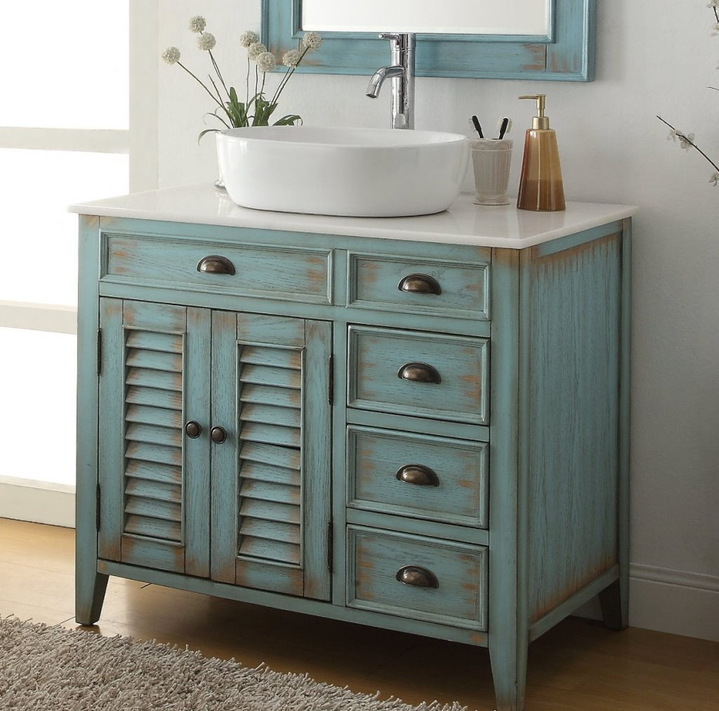 36 Inch Bathroom Vanity Coastal Beach Style White Vessel Sink Teal