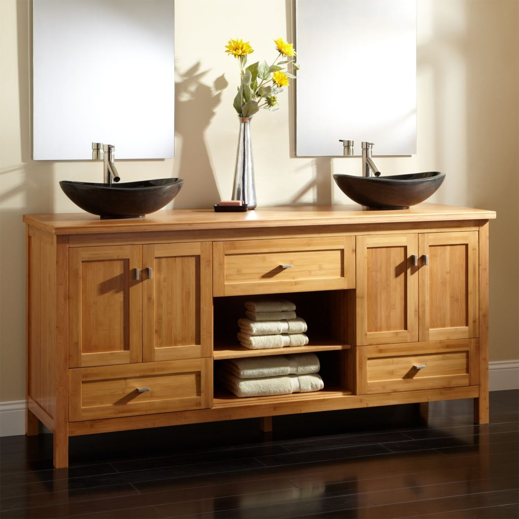 72 Alcott Bamboo Double Vanity With Matching Top Bathroom