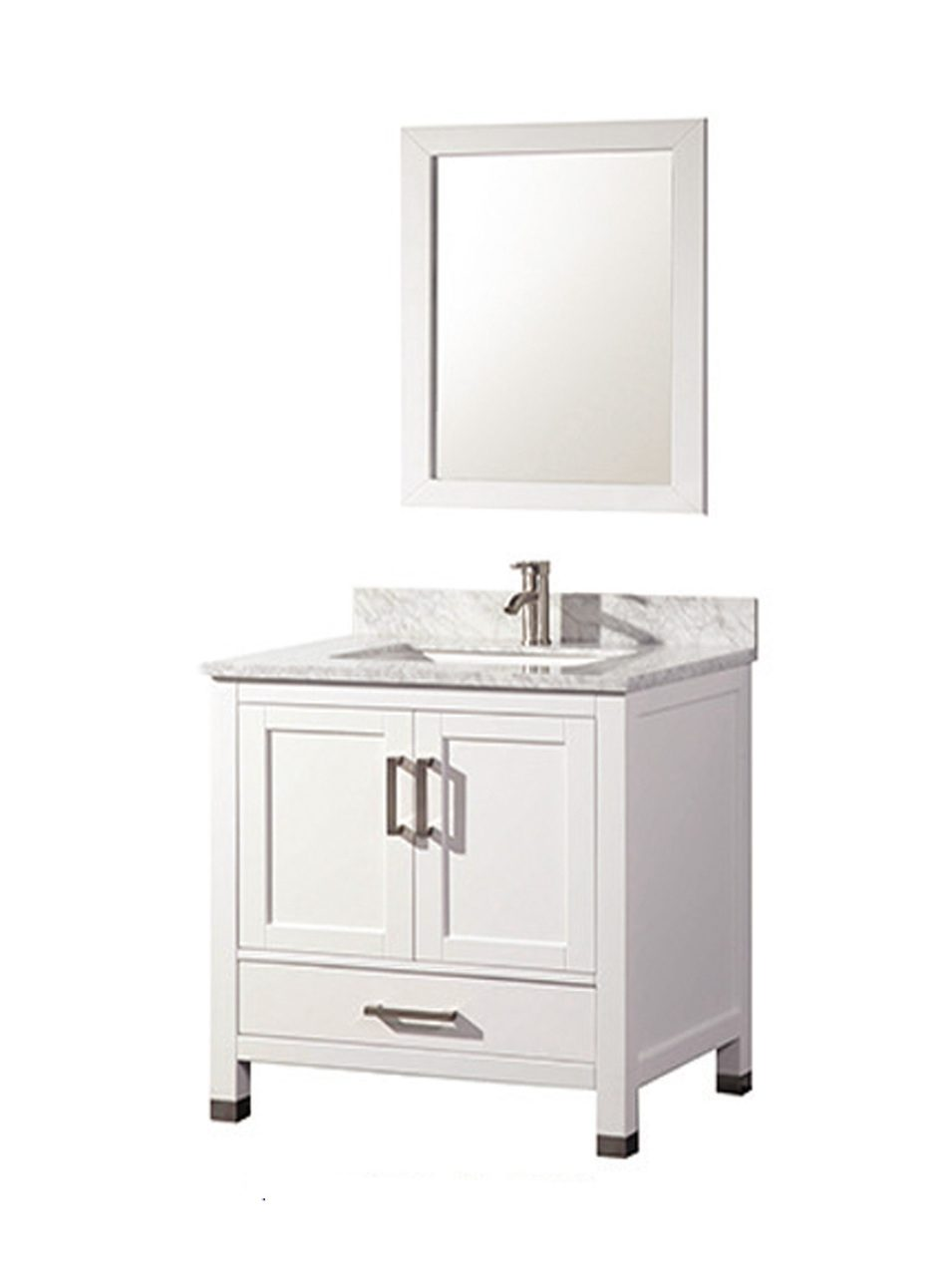 Acer 30 Inch Solid Wood White Bathroom Vanity Solid Oak Wood Cabinetry