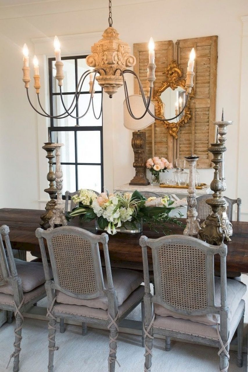 Adorable 55 Modern French Country Dining Room Table Decor Ideas