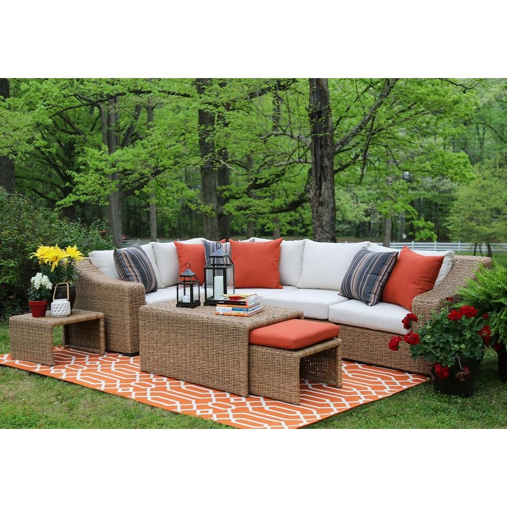 Ae Outdoor Arizona 8 Piece All Weather Wicker Patio Sectional With