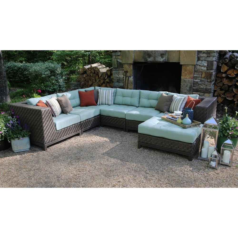 Ae Outdoor Dawson 7 Piece Patio Sectional Seating Set With Sunbrella