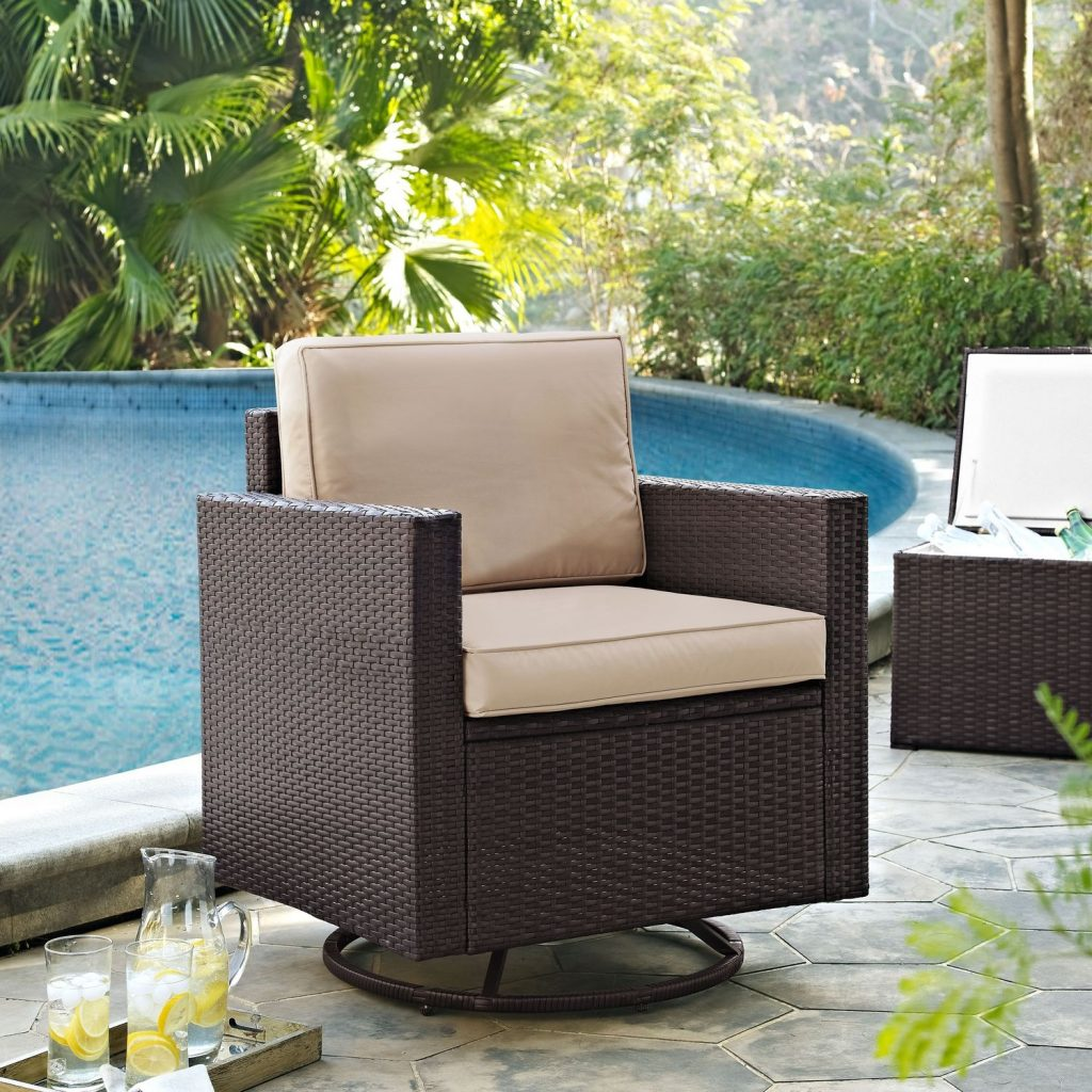 Aldo Outdoor Swivel Rocking Chair Brown Value City Furniture And