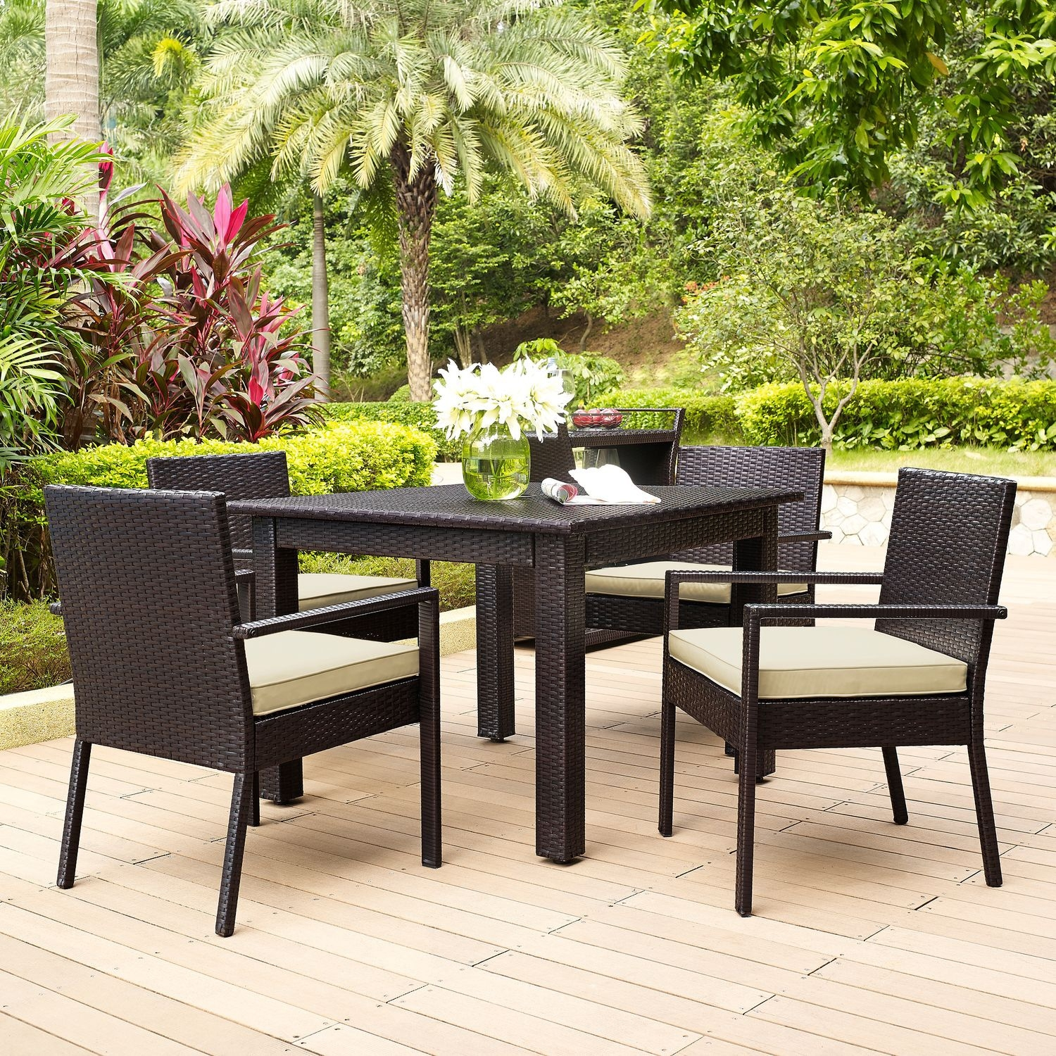 Aldo Outdoor Table And 4 Arm Chairs Set Brown Value City