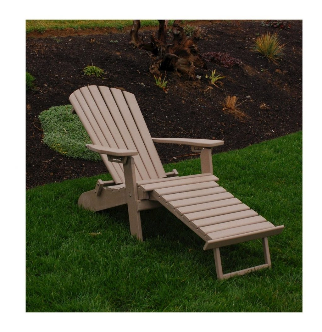 Amish Made Recycled Plastic Reclining Adirondack Chair With Pullout