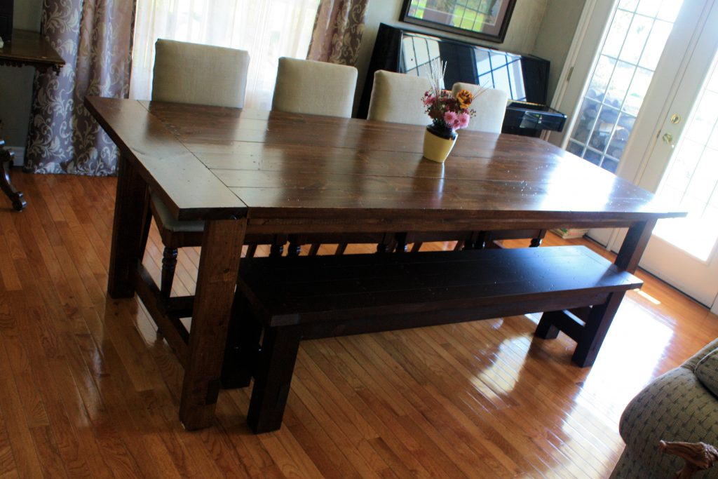 Ana White Super Big Farmhouse Dining Table And Bench Diy Projects