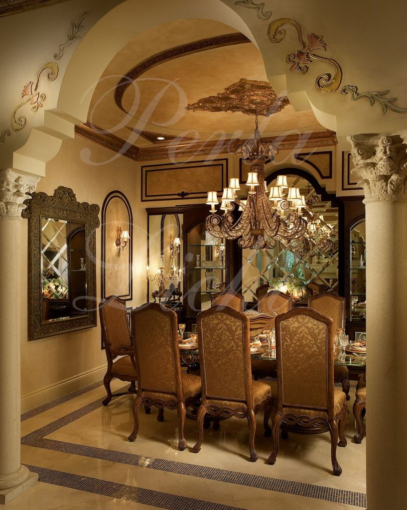 Arch And Columns Create Beautiful Entrance To This Formal Dining