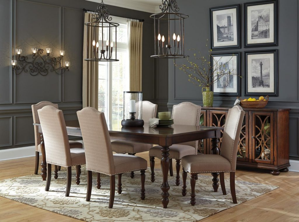 Ashley Baxenburg D506 Dining Room Set 8pcs In Brown Nail Head