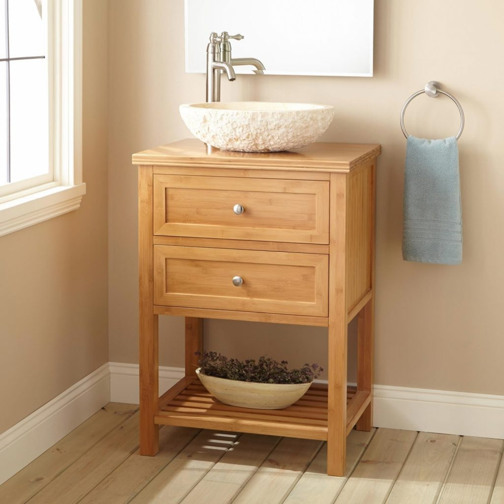 Bath 24 Narrow Depth Taren Bamboo Vessel Sink Vanity Bathroom With