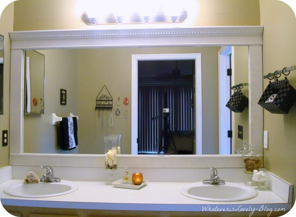 Bathroom Mirror Framed With Crown Molding Pinterest Frame