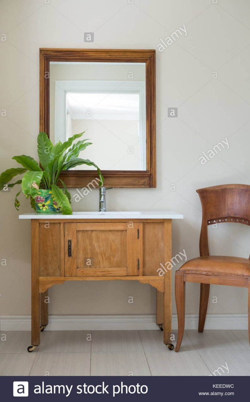 Bathroom Vanities With Sink And Mirror At Home Stock Photo