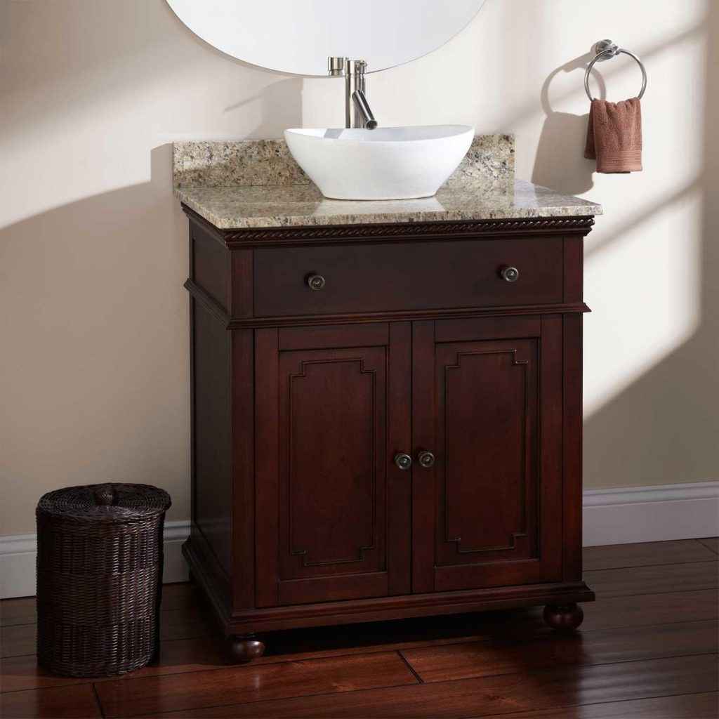Bathroom Vanity With Vessel Sink L Walnut Mfinyt Tikspor