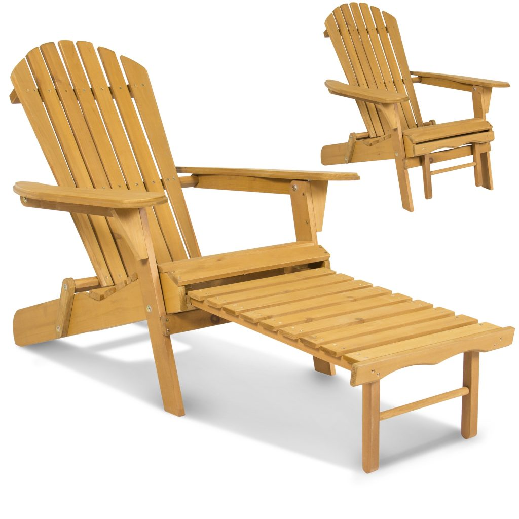 Bcp Outdoor Wood Adirondack Chair Foldable W Pull Out Ottoman Patio