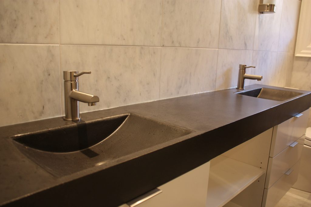 Bed Bath Striking Trough Sink With Double Sink Vanity And Tile