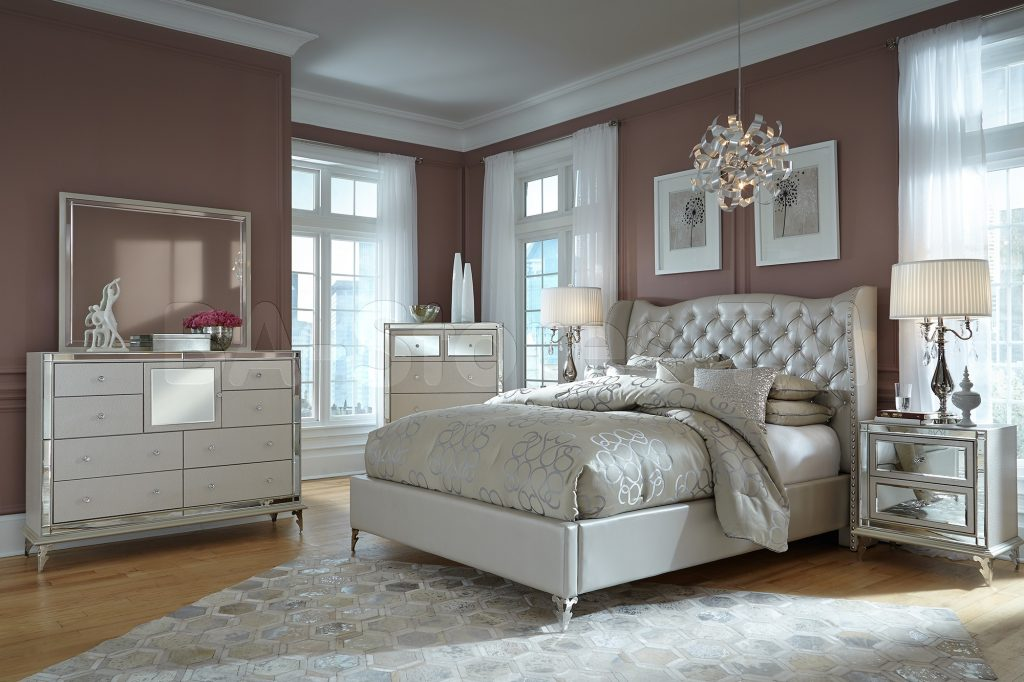 Bedroom Furniture Storage Mirorred Michael Amini Sets Mansion Vinyl