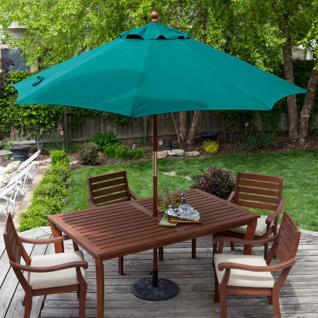 Belham Living 9 Ft Wood Commercial Grade Sunbrella Market Umbrella
