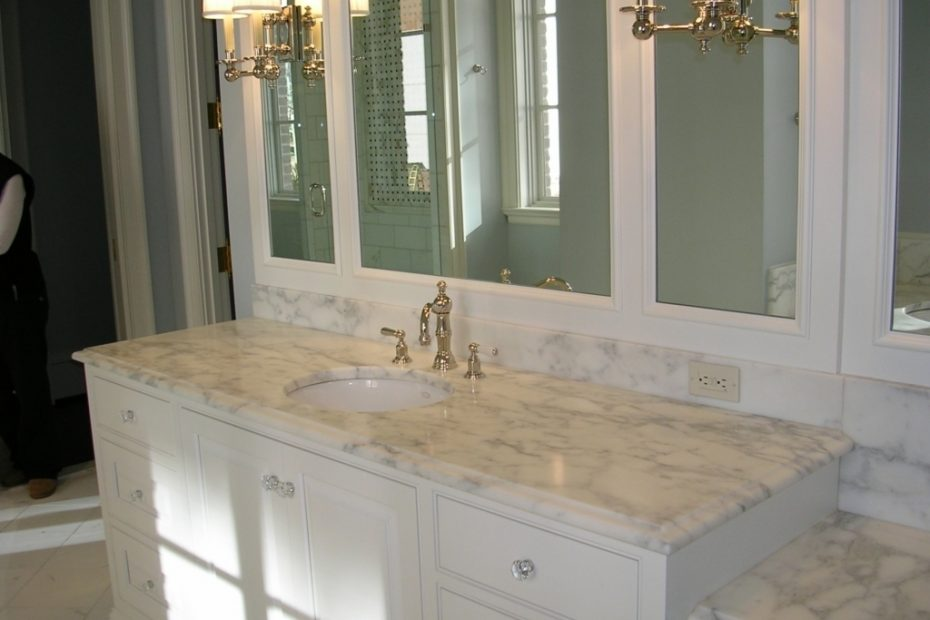 Best Color For Granite Countertops And White Bathroom Cabinets With
